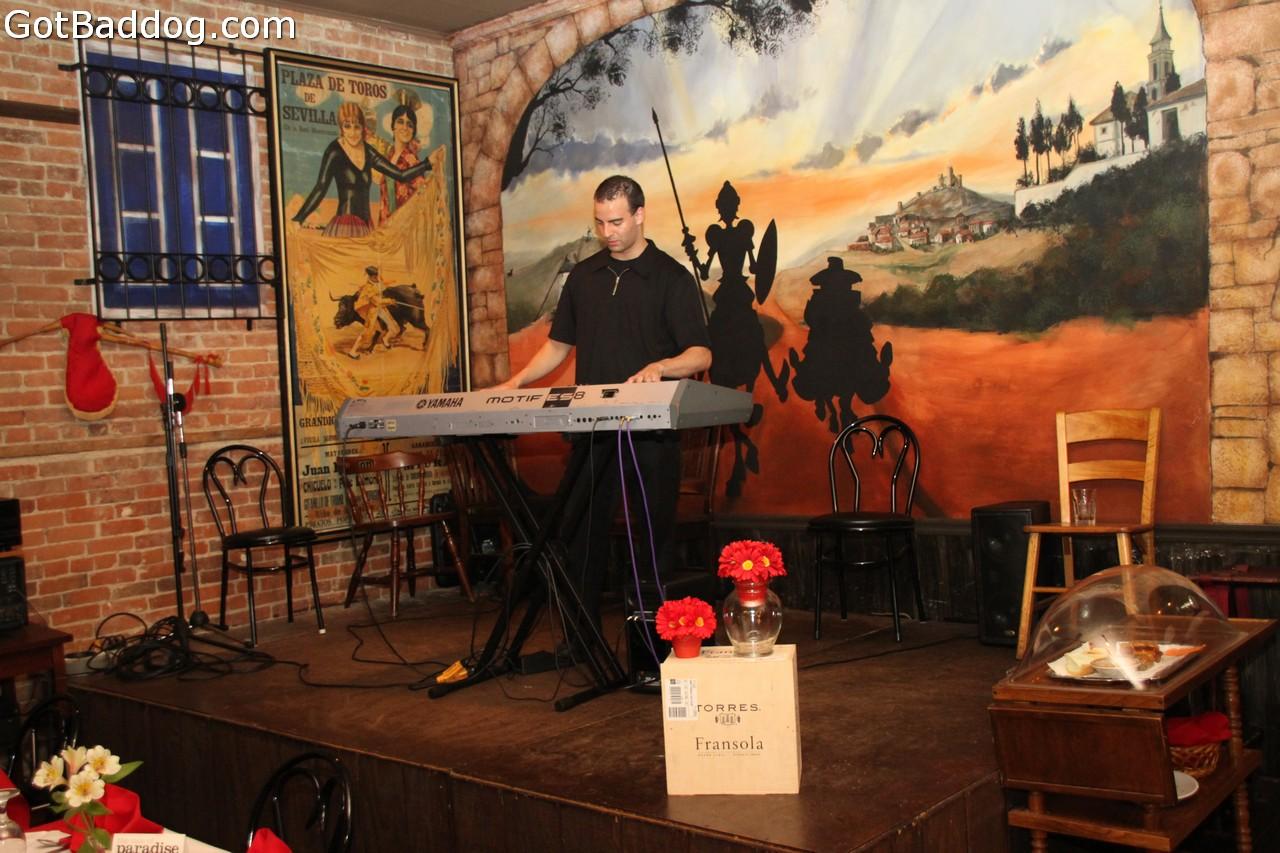 Local Musician, Keenan Baxter, performing keyboards at DonQuijote Restaurant