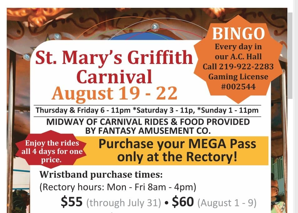 st marys carnival festival western days griffith indiana