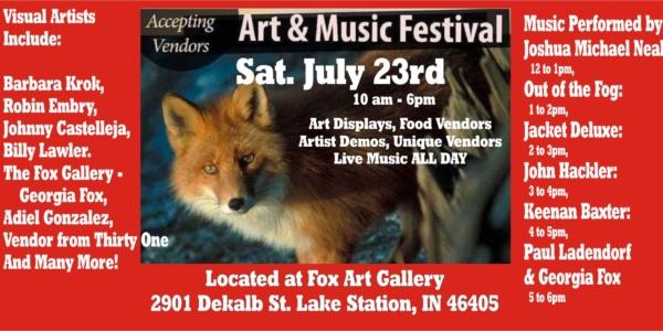 fox art and music festival lake station keenan baxter