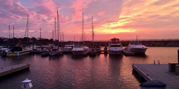 east chicago marina indiana sunset