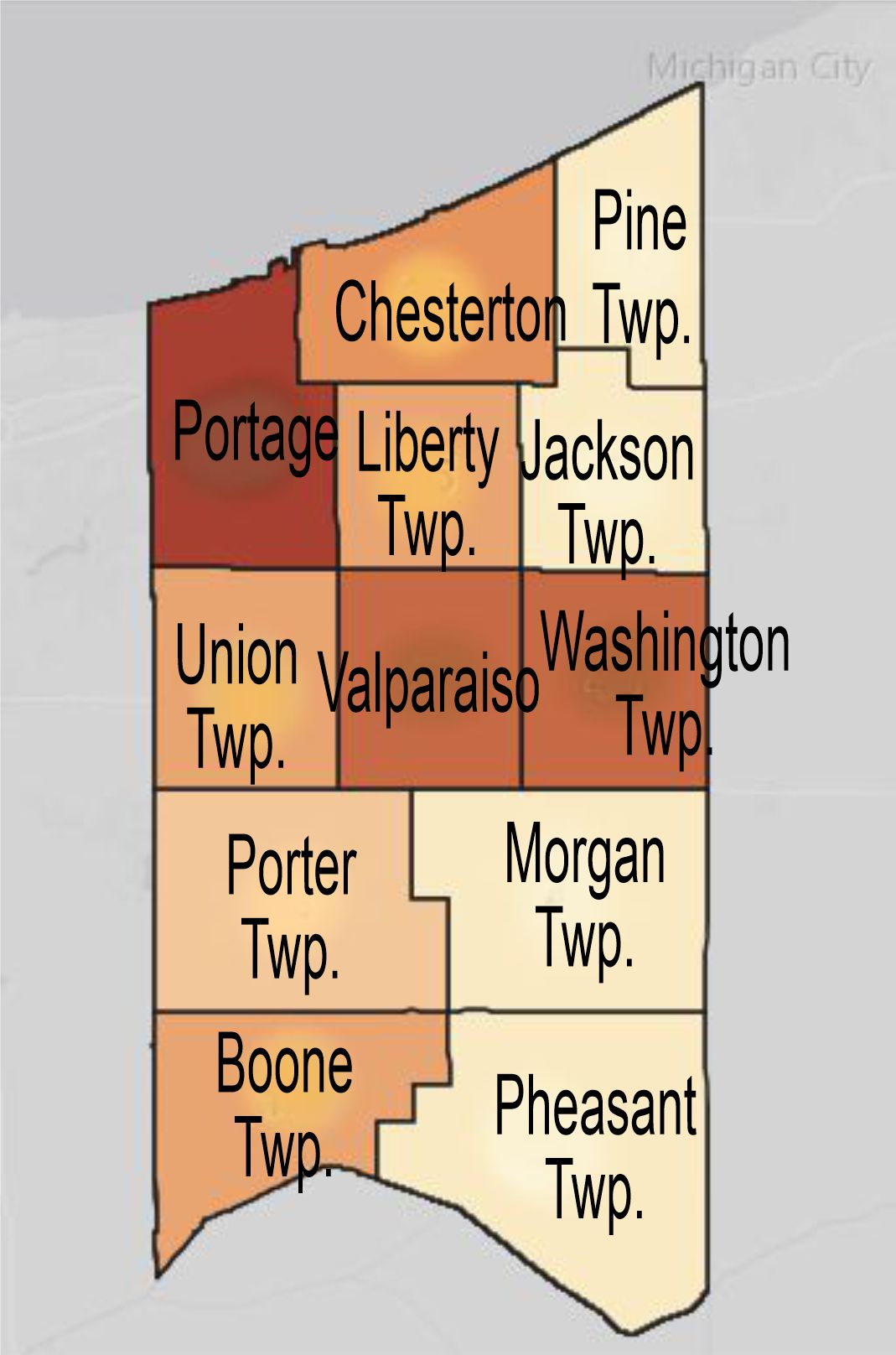 covid cases per city in porter county indiana