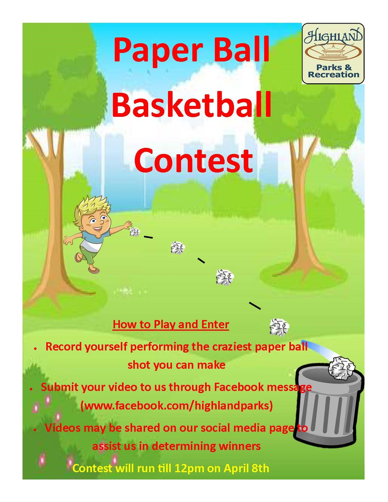 highland indiana parks online basketball game for kids during pandemic