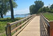 Whiting Indiana with DNR Build ADA Compliant Boardwalk on lake Michigan