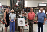 "At the ""Icarus"" unveiling (left to right), Museum Director Keri Teller Jakubowski, La Porte County Historian Fern Eddy Schultz, Reagan Buchanan, Board President Bruce Johnson, Board Vice President Gary Ashby"