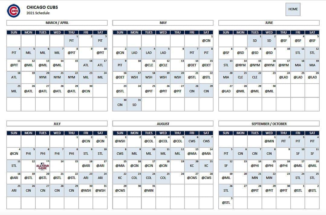 chicago cubs schedule