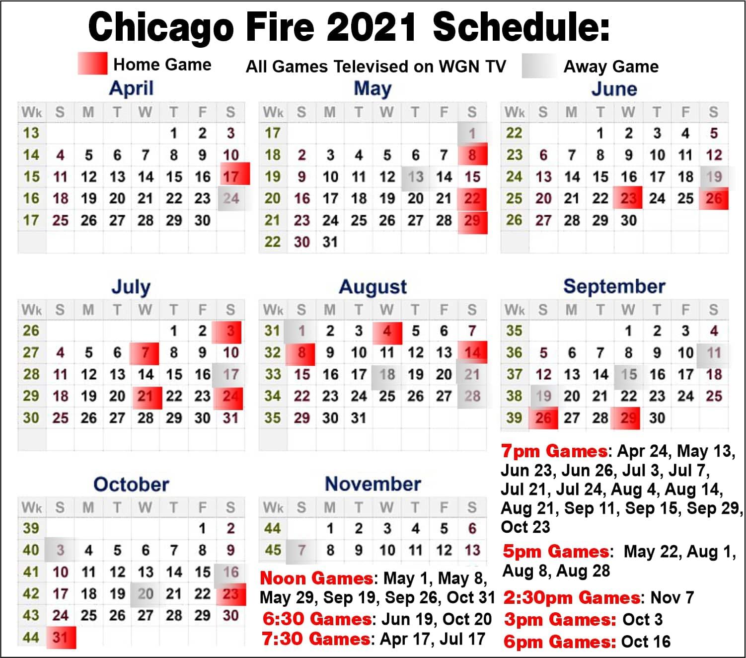 chicago fire schedule