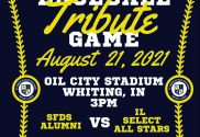 tribute baseball game honoring coach Albert Lodl from st francis de sales whiting indiana e1628613886231